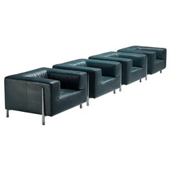 Large Cubic Lounge Chairs in Green Leather