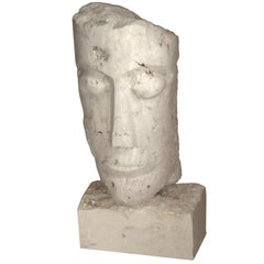 Large Cubist Carved Stone Sculpture Depicting a Man Head