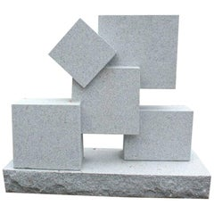 Large Cuboid Modernist Grey Granite Sculpture