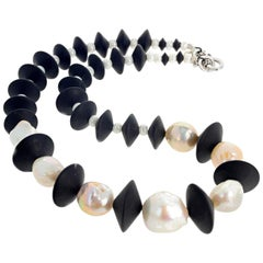 Exquisite Large Cultured Pearls and Black Onyx Necklace