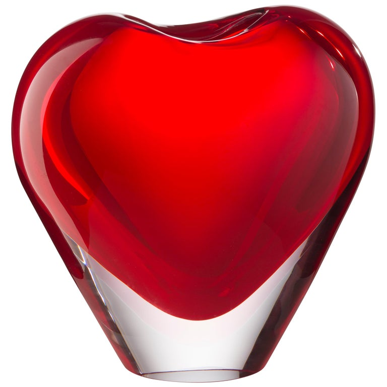 Large Cuore Vase in Glass by Maria Christina Hamel For Sale