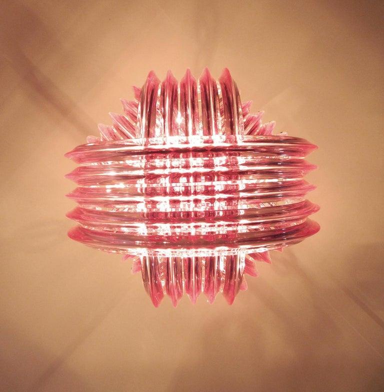 Large Curvati Chandelier, Pink Triedri, 20 Murano Glasses 4