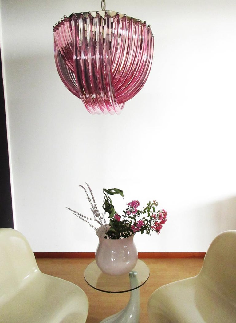 Late 20th Century Large Curvati Chandelier, Pink Triedri, 20 Murano Glasses