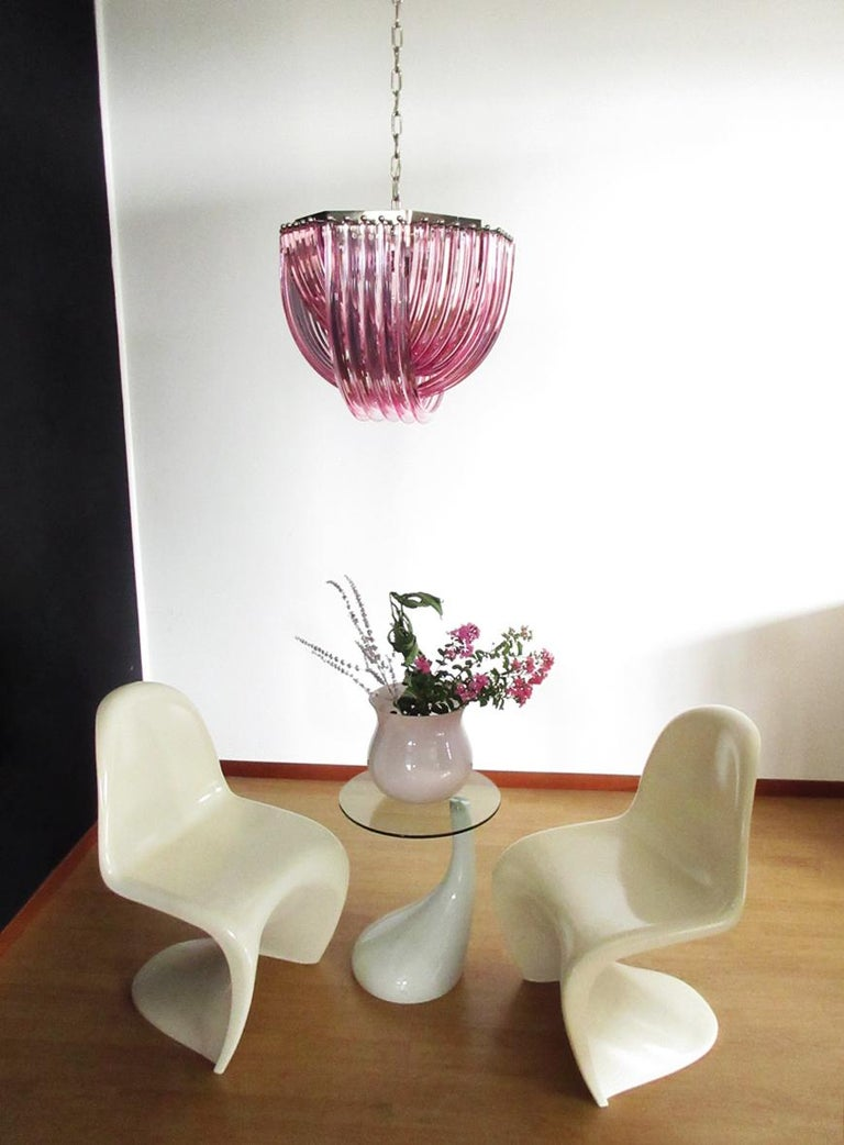 Blown Glass Large Curvati Chandelier, Pink Triedri, 20 Murano Glasses