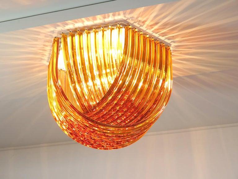 Large Curvati Rainbow Ceiling Light, Amber Triedri, 24 Murano Glasses 5