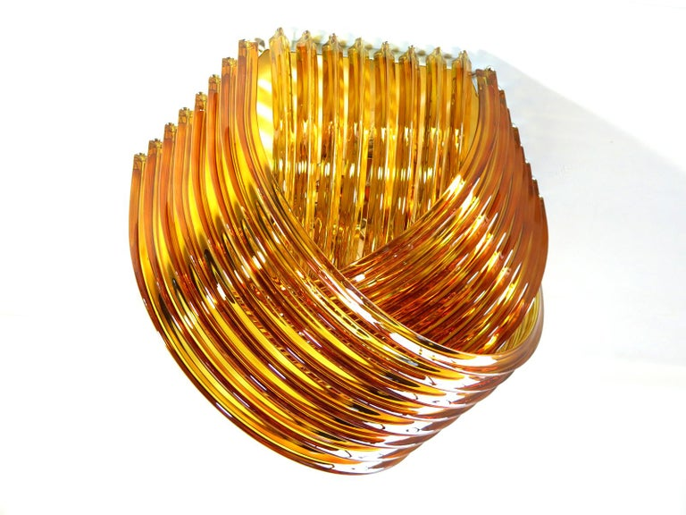 Large Curvati Rainbow Ceiling Light, Amber Triedri, 24 Murano Glasses In Excellent Condition In Gaiarine Frazione Francenigo (TV), IT