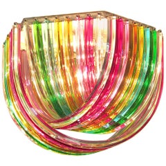 Large Curvati Rainbow Ceiling Light, Multicolored Triedri, 24 Murano Glasses