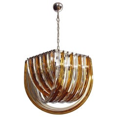 Large Curvati Rainbow Chandelier, Amber and Trasparent Triedri, 24 Murano Glass