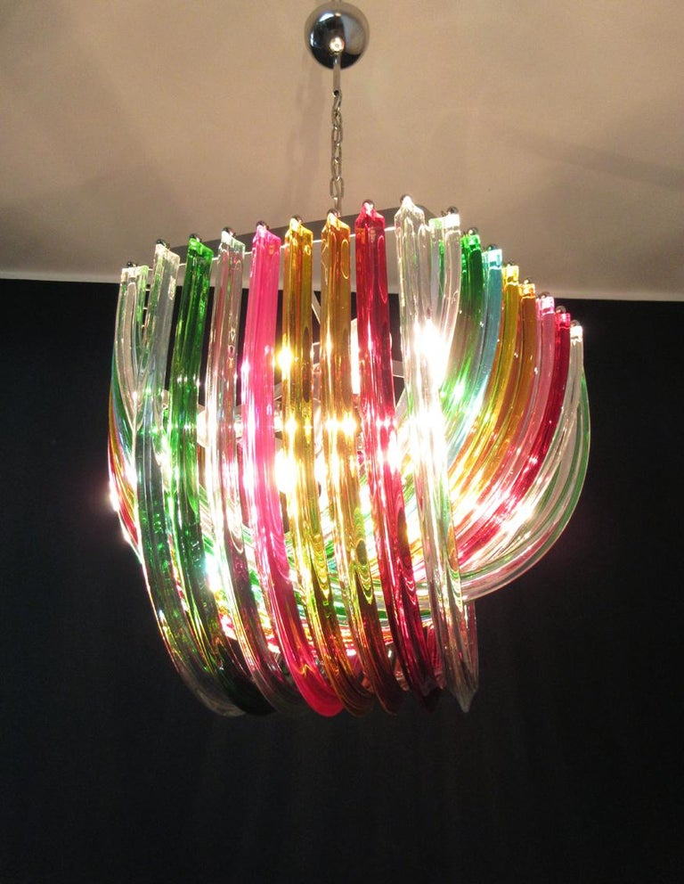 Large Curvati Rainbow Chandelier, Multicolored Triedri, 24 Murano Glasses 3