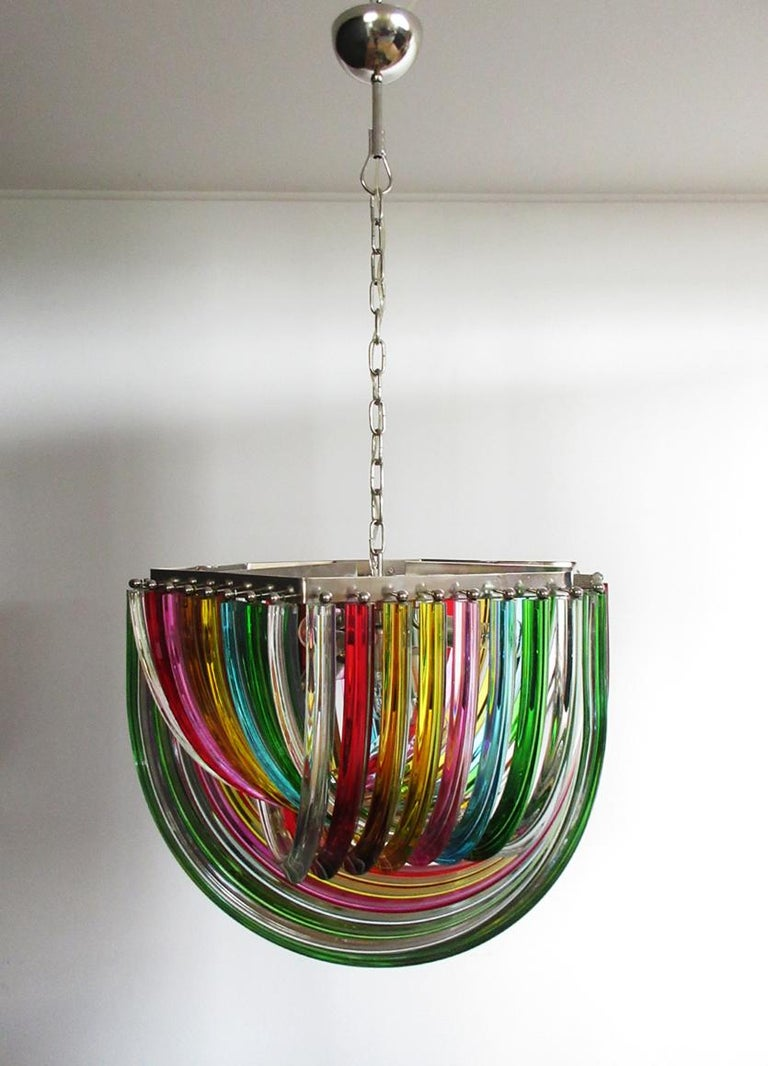 Large Curvati Rainbow Chandelier, Multicolored Triedri, 24 Murano Glasses 5