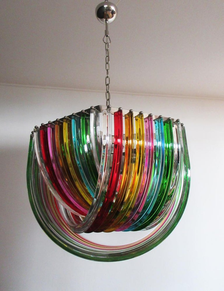 Blown Glass Large Curvati Rainbow Chandelier, Multicolored Triedri, 24 Murano Glasses