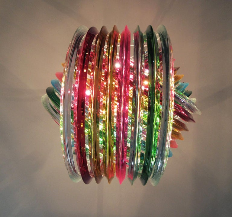 Large Curvati Rainbow Chandelier, Multicolored Triedri, 24 Murano Glasses 1