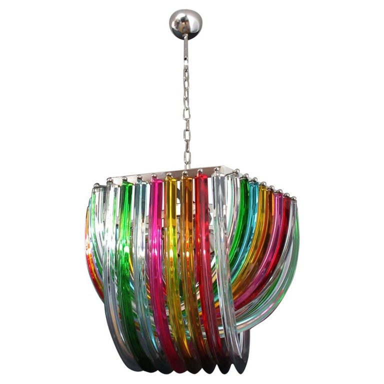 Large Curvati Rainbow Chandelier, Multicolored Triedri, 24 Murano Glasses