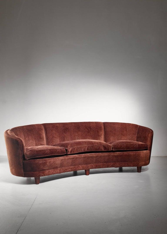 Scandinavian Modern Large Curved, Brown Scandinavian Sofa, 1940s For Sale