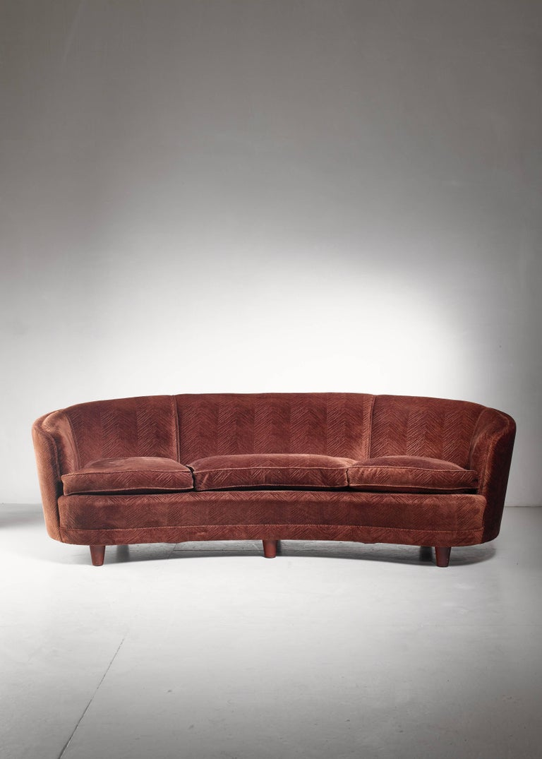 Swedish Large Curved, Brown Scandinavian Sofa, 1940s For Sale