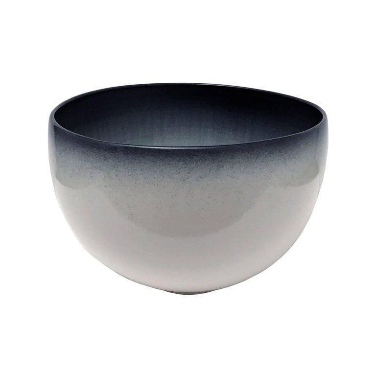 Large Curved Ceramic Bowl with Ombre Glaze by Sandi Fellman