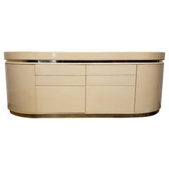Large Curved Lacquered Off-White Cream Credenza by J. Wade Beam, circa 1980