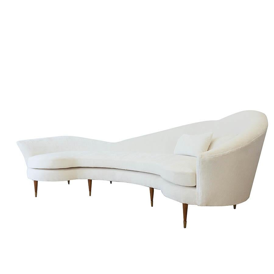 Large Curved Modern White Velvet Sofa