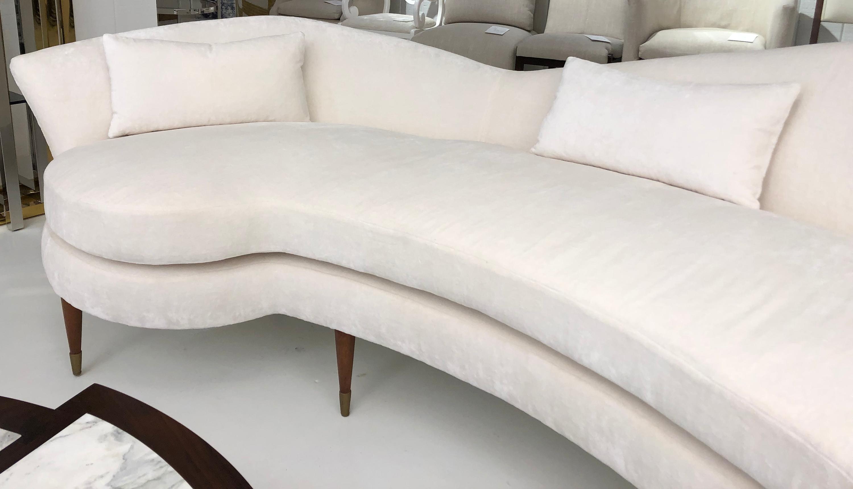 Large Curved Modern White Velvet Sofa For Sale At 1stdibs