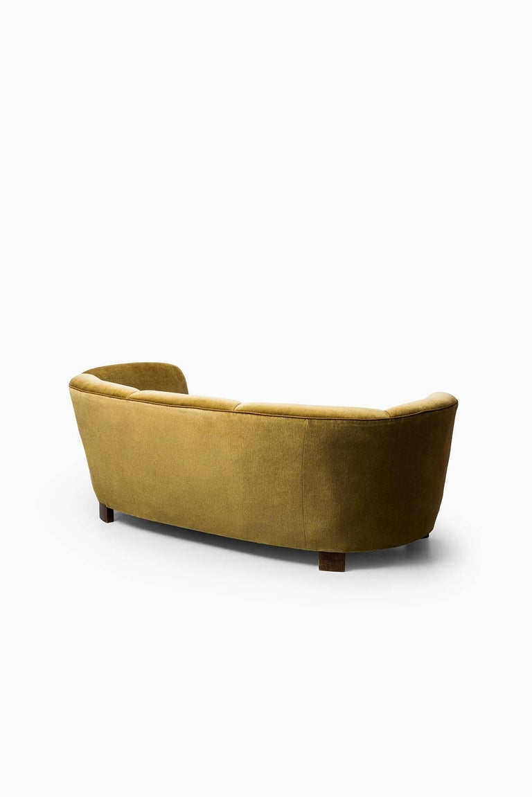 Large Curved Sofa in Green / Yellow Velvet Produced in ...