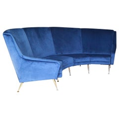 Large Curved Sofa in Velvet and Gold Metal Edited by Erton, 1950s, France