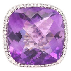 Large Cushion Cut Amethyst Cocktail Ring