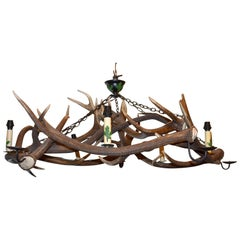 Large Custom Antler Chandelier with Lights and Candleholders