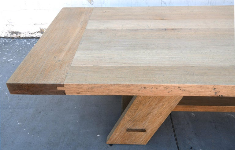 Hand-Crafted Large Custom Banquet Table Made from Rift Sawn White Oak For Sale