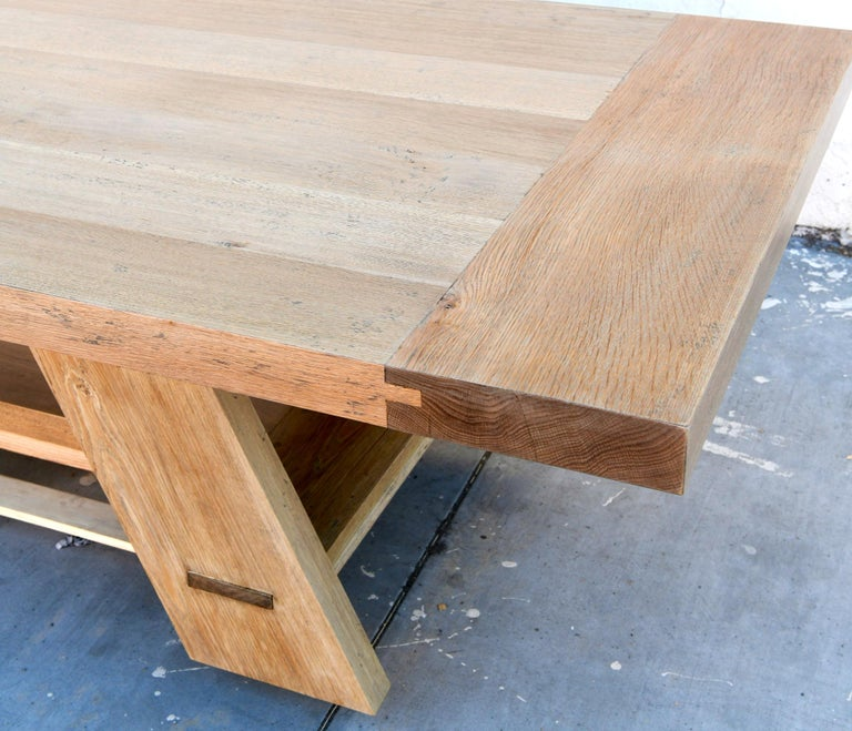 Contemporary Large Custom Banquet Table Made from Rift Sawn White Oak For Sale