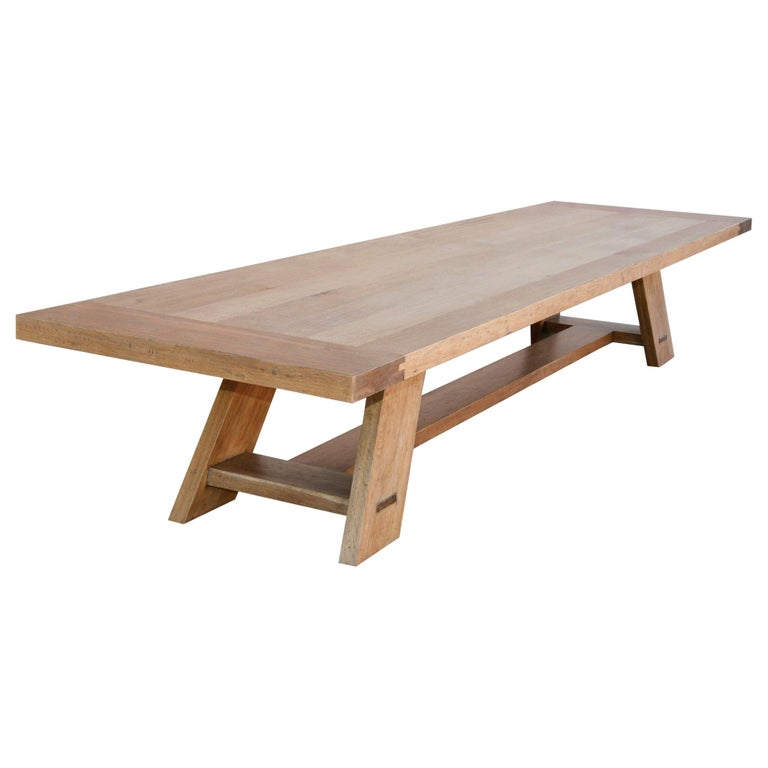 Large Custom Banquet Table Made from Rift Sawn White Oak For Sale