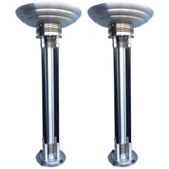 Large Custom Build Machine Age Art Deco Revival Chrome Floor Lamp, Pair