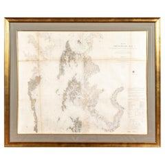 Large Custom Framed 1857 U.S. Coast Survey of the Chesapeake Bay