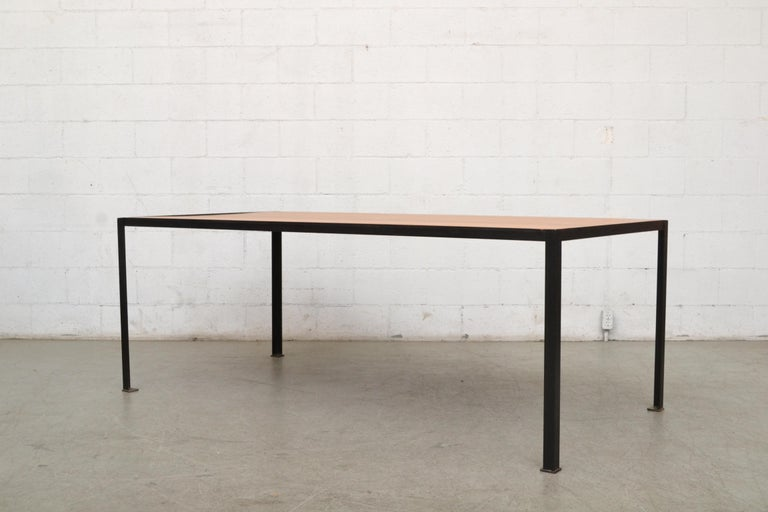Mid-Century Modern Large Custom Industrial Table with Solid Pecan Top For Sale