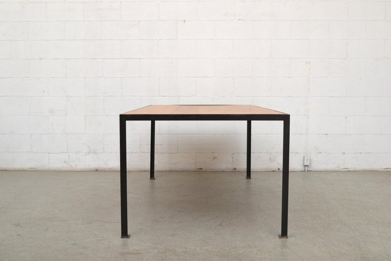 Dutch Large Custom Industrial Table with Solid Pecan Top For Sale