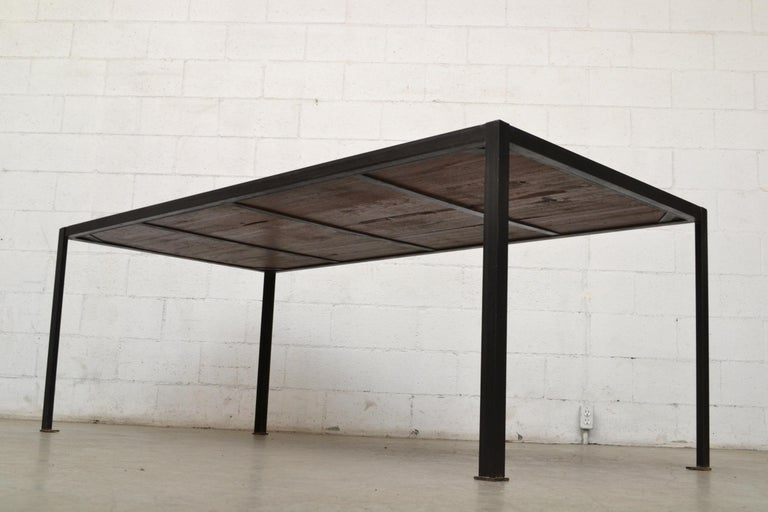 Enameled Large Custom Industrial Table with Solid Pecan Top For Sale