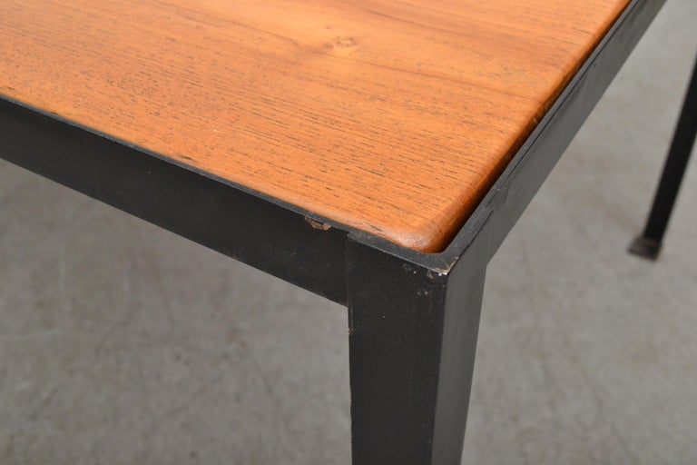 Large Custom Industrial Table with Solid Pecan Top In Good Condition For Sale In Los Angeles, CA