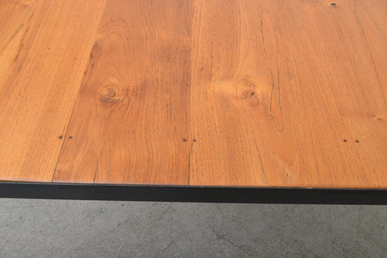 Mid-20th Century Large Custom Industrial Table with Solid Pecan Top For Sale