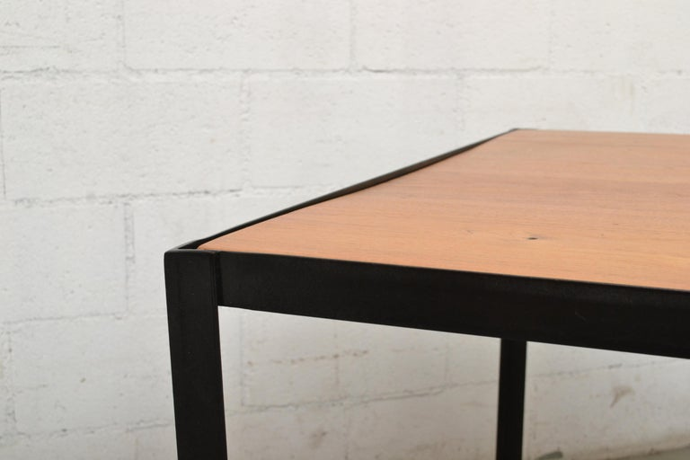 Wood Large Custom Industrial Table with Solid Pecan Top For Sale