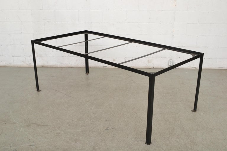 Large Custom Industrial Table with Solid Pecan Top For Sale 1