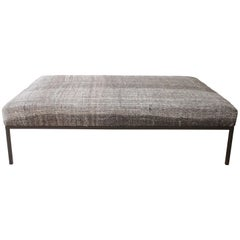Large Custom Iron Cocktail Table Ottoman Upholstered in a Vintage Turkish Rug