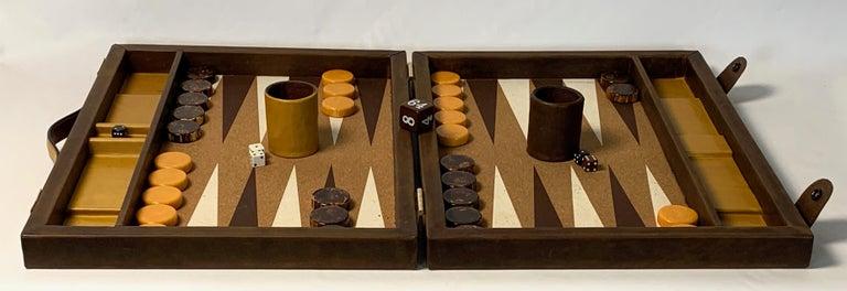American Large Custom Made Leather Backgammon Set