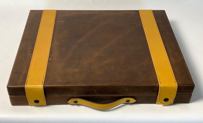 Large Custom Made Leather Backgammon Set In Good Condition In Kilmarnock, VA