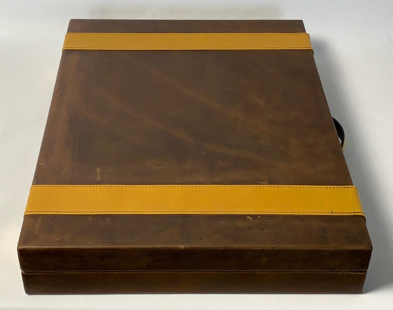 Contemporary Large Custom Made Leather Backgammon Set