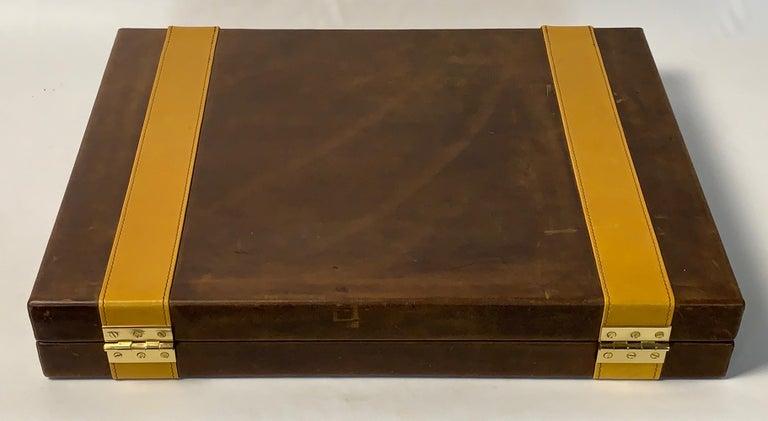 Wood Large Custom Made Leather Backgammon Set