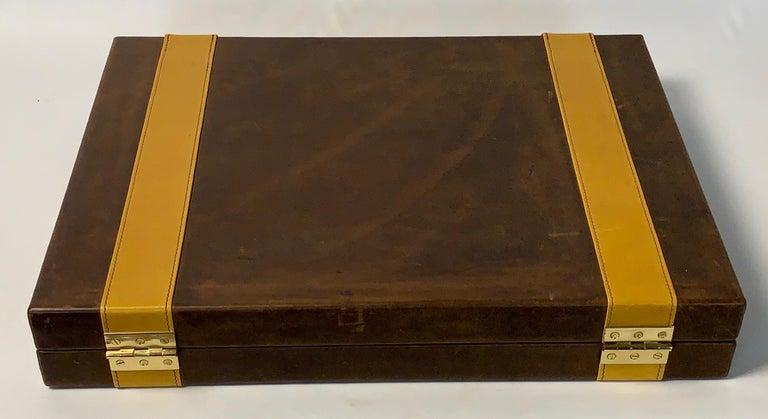 Large Custom Made Leather Backgammon Set 1