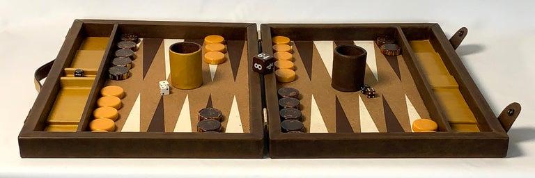 Large Custom Made Leather Backgammon Set 3