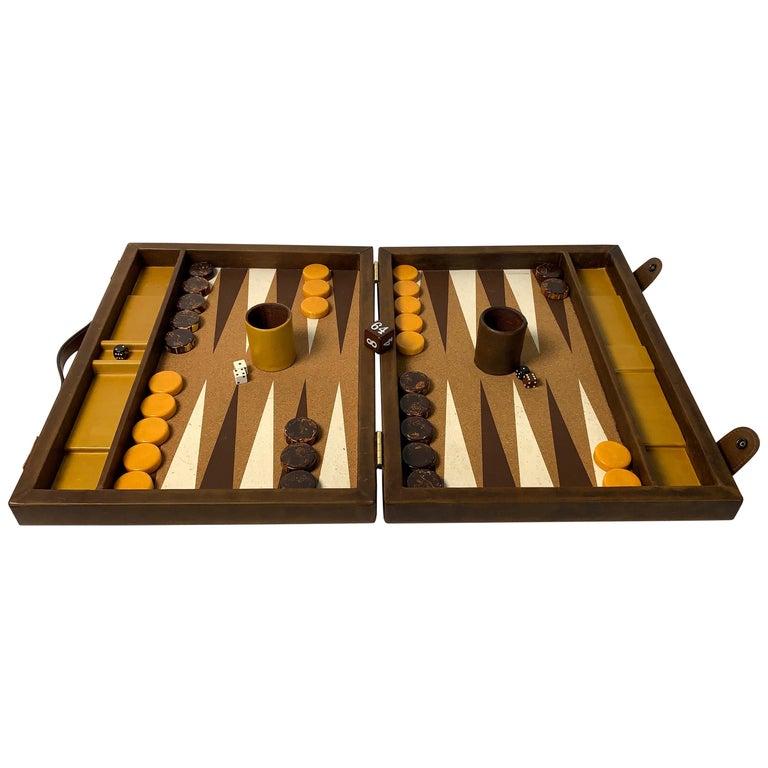 Large Custom Made Leather Backgammon Set