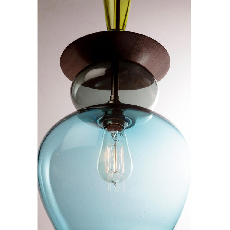 Moorish Large Custom Made Modern Oriental Sculptural Colored Glass Pendant Chandelier For Sale