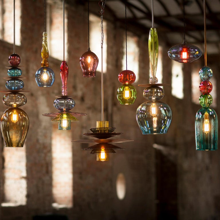 Contemporary Large Custom Made Modern Oriental Sculptural Colored Glass Pendant Chandelier For Sale