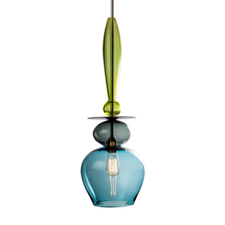 Large Custom Made Modern Oriental Sculptural Colored Glass Pendant Chandelier For Sale